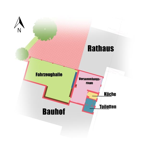 Plan vom Feuerwehrhaus der Freiwilligen Feuerwehr Cappeln
